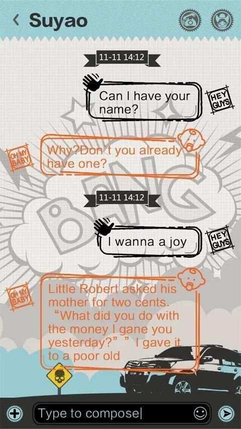 GO SMS PRO BANG THEME 4 تصوير الشاشة