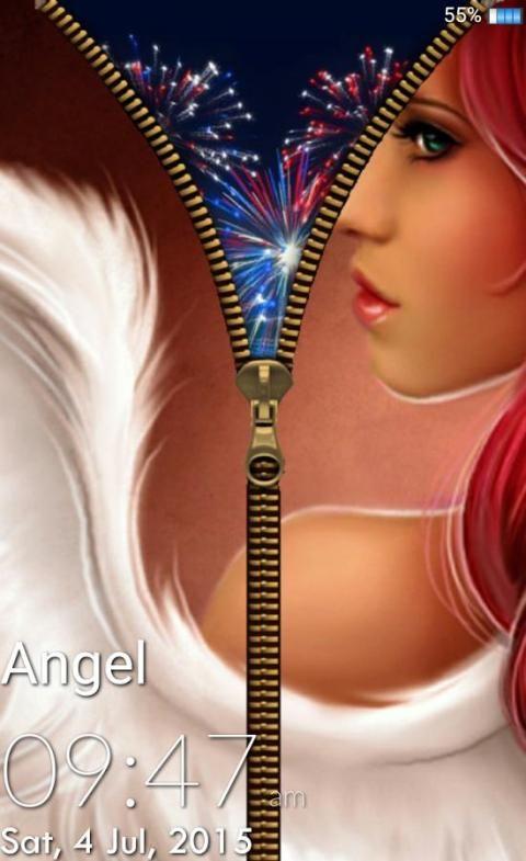 Angel Zipper Lock Screen 2 تصوير الشاشة
