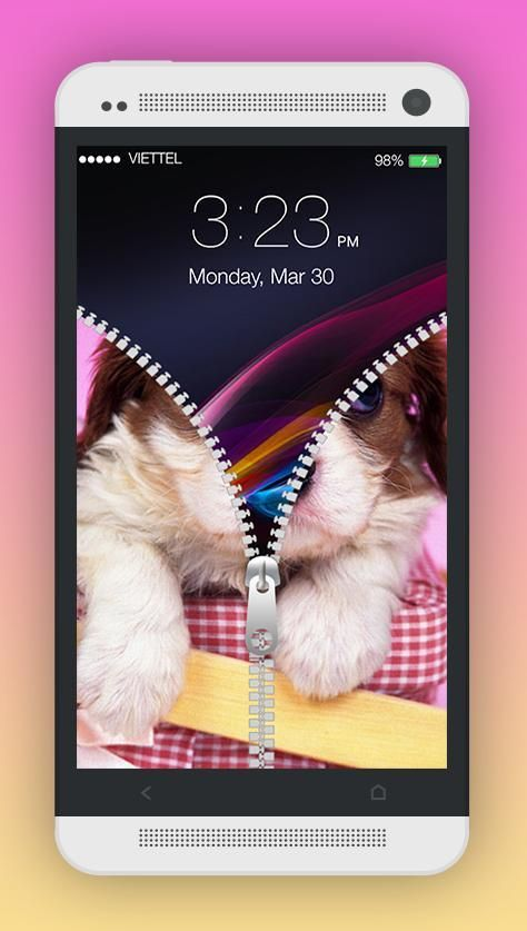 Cute Puppy Zipper Screen Lock 1 تصوير الشاشة