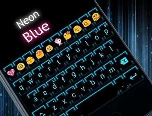 Neon Blue 2 Emoji Keyboard screenshot 6