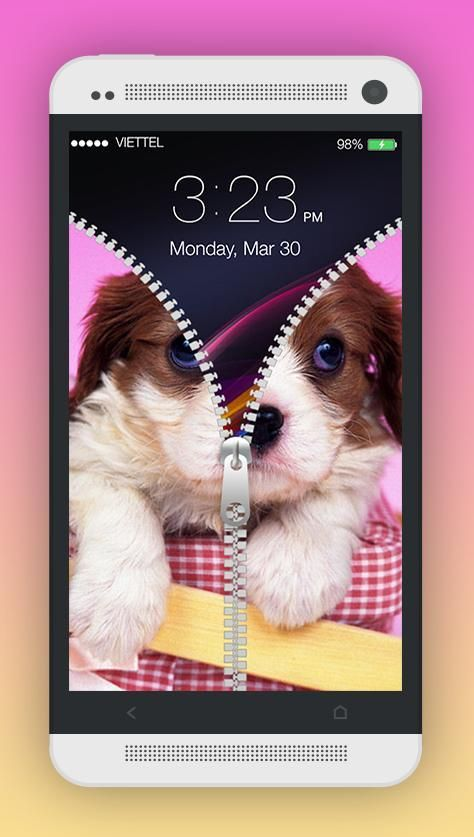 Cute Puppy Zipper Screen Lock 2 تصوير الشاشة