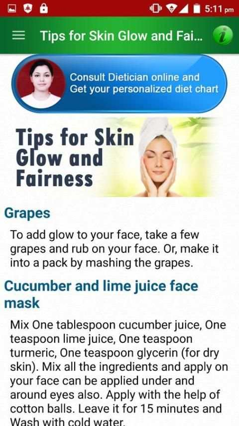 Beautiful Skin Diet Tips Help screenshot 3