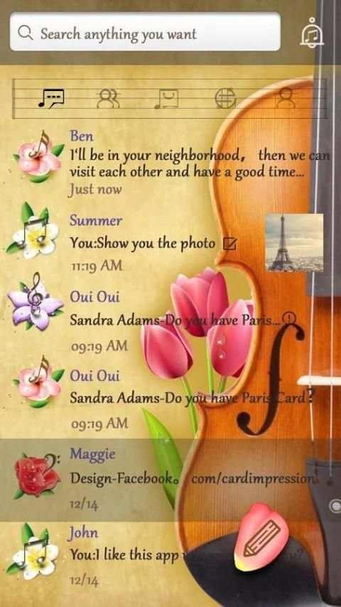 GO SMS PRO VIOLIN THEME 4 تصوير الشاشة