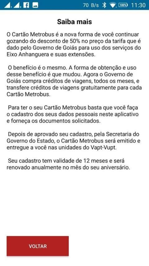 Cartão Metrobus screenshot 1