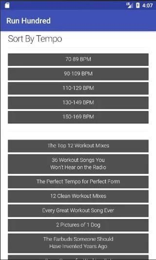 Run Hundred Workout Music Database 2 تصوير الشاشة
