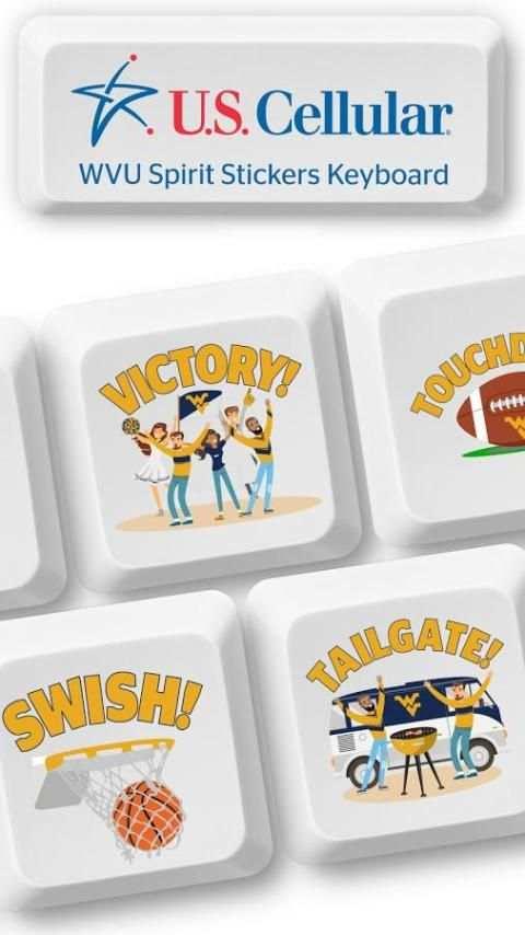 U.S. Cellular® WVU Spirit Stickers Keyboard screenshot 1