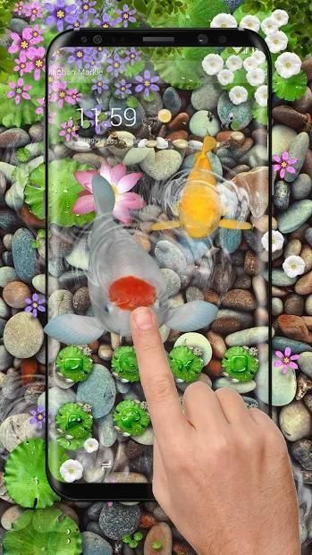 3D Koi Fish Theme and Animated Ripple Effect screenshot 2