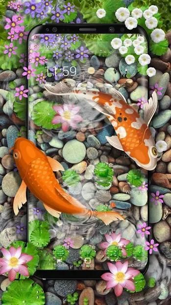 3D Koi Fish Theme and Animated Ripple Effect screenshot 6