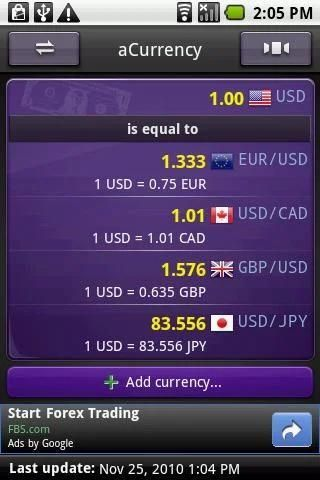 aCurrency (exchange rate) स्क्रीनशॉट 5