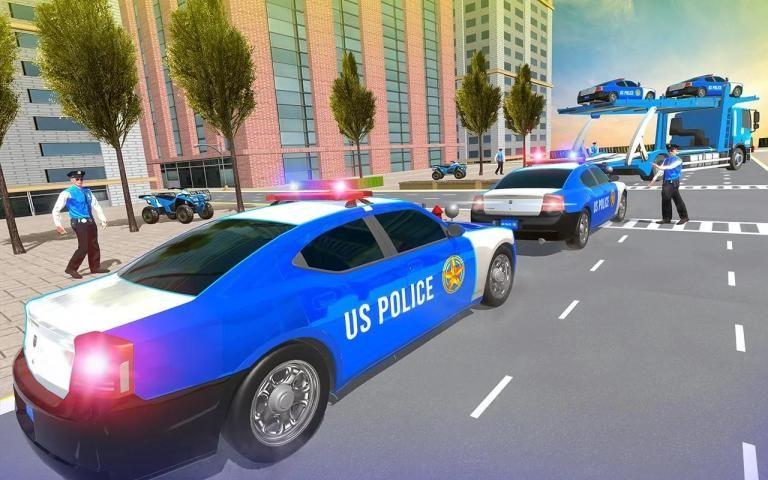 Us Police Car Transporter Truck Driving Simulator स्क्रीनशॉट 2