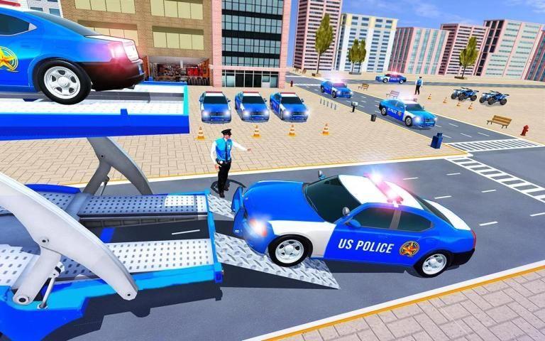 Us Police Car Transporter Truck Driving Simulator स्क्रीनशॉट 3