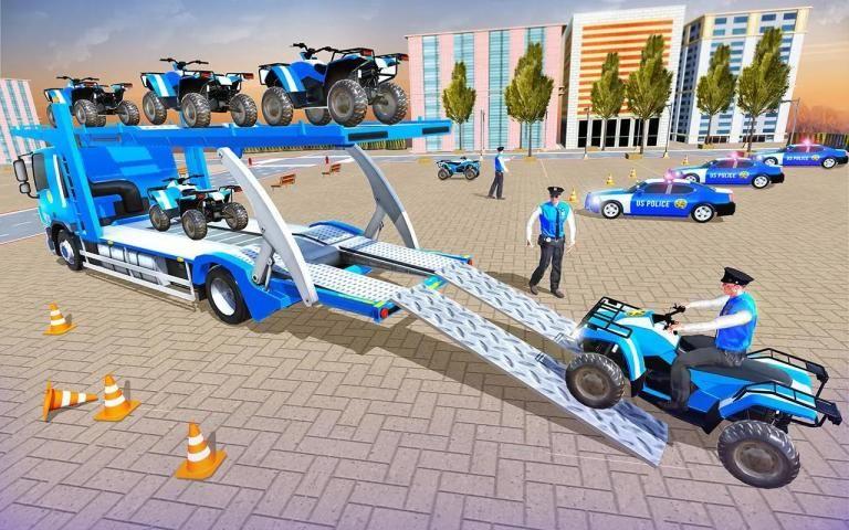 Us Police Car Transporter Truck Driving Simulator स्क्रीनशॉट 5