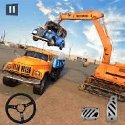 Wrecked Car Crusher Crane Drive Dumper Truck Games