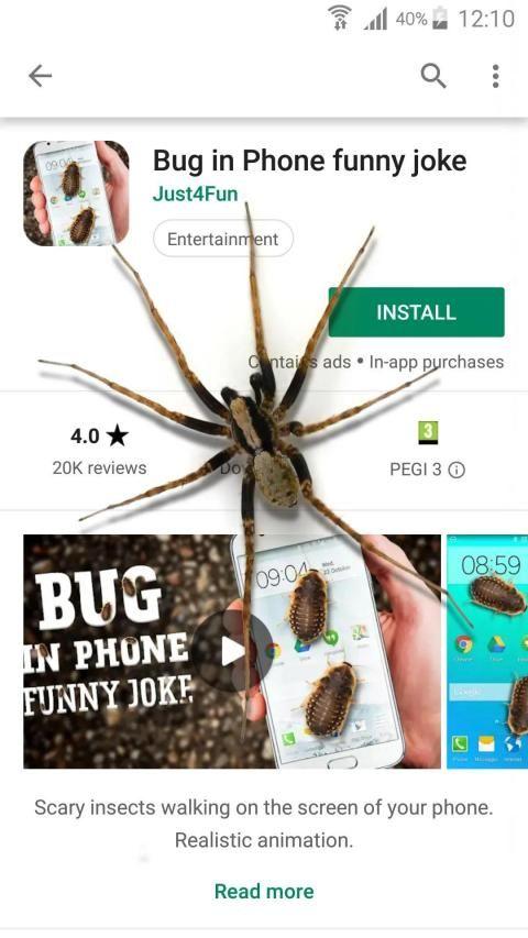 Spider in phone funny joke 11 تصوير الشاشة