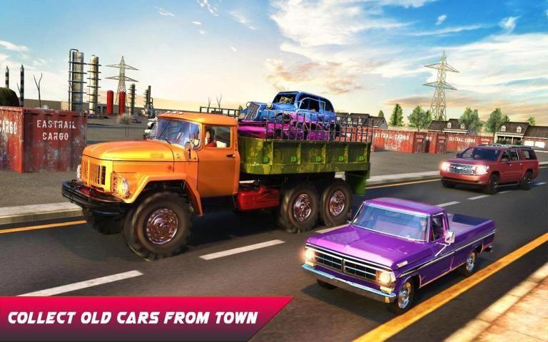 Wrecked Car Crusher Crane Drive Dumper Truck Games screenshot 10