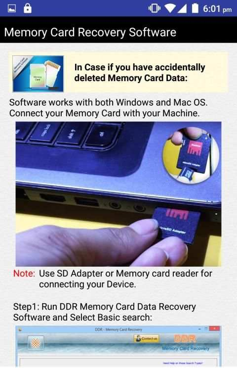 Memory Card Recovery Software Help 18 تصوير الشاشة